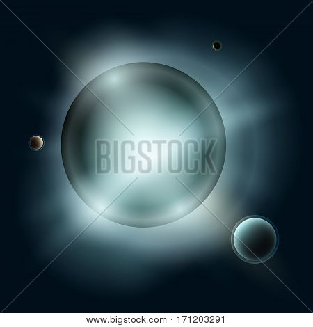 Star with Satellites, Sun with Planets in Space, Blue Light of Stars in Universe, Abstract Background, Vector Illustration