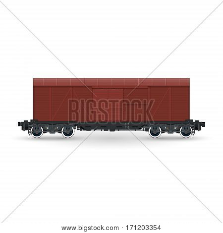 Closed Wagon Isolated on White Background, Railway and Cargo Transport, Vector Illustration