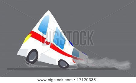 Vector illustration ambulance car on gray background. Ambulance auto paramedic emergency. Ambulance vehicle medical evacuation. Cartoon ambulance silhouette