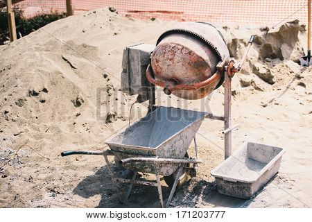 Construction Details - Cement Mixer Machinery Used On Construction Site For Preparing Mortar And Bui