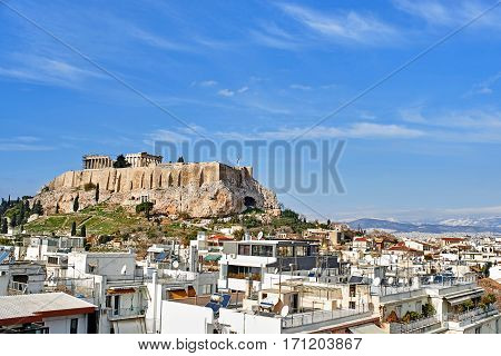 view of Parthenon in Acropolis Athens, Greece