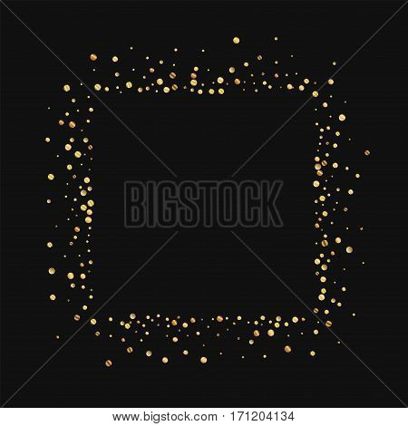 Gold Confetti. Square Abstract Mess On Black Background. Vector Illustration.