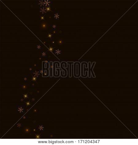 Sparse Starry Snow. Left Wave On Black Background. Vector Illustration.