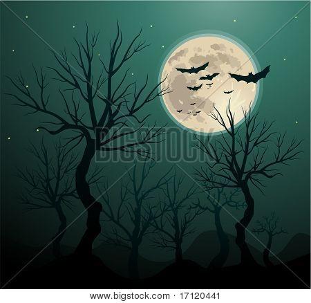 Creepy tree halloween background