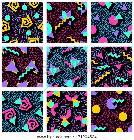 9 vibrantly colorful 80's and 90's style seamless patterns with geometric shapes. Graphics are grouped and in several layers for easy editing. The file can be scaled to any size.