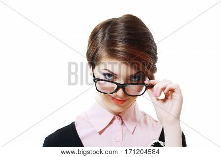 student or young business woman in glasses thining out loud