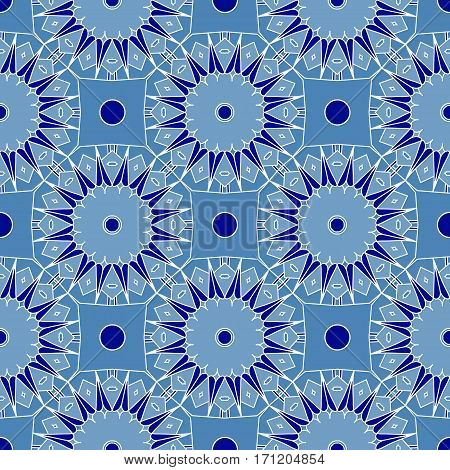 Intricate blue abstract seamless background. Repeating kaleidoscope pattern. Vector