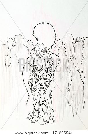 Personality In Public Opinion Captivity. The Guy In The Barbed Wire In The Crowd. Symbol, Depending