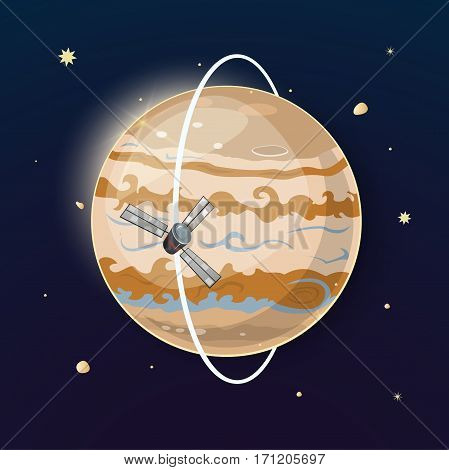Planet Jupiter and spacecraft is moving in a polar orbit, vector illustration on space background with stars
