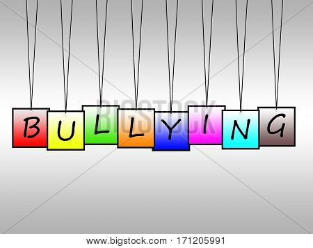 Illustration of bullying word written on hanging tags