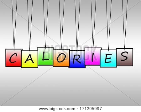 Illustration of calories word written on hanging tags