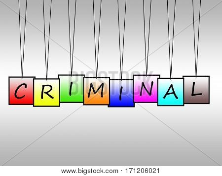 Illustration of criminal written on hanging tags