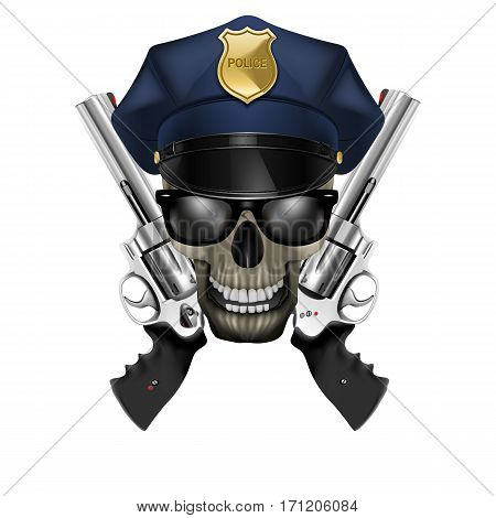 Skull with sunglasses in a police cap and revolver. Isolated object on a white background, can be used with any image or text.