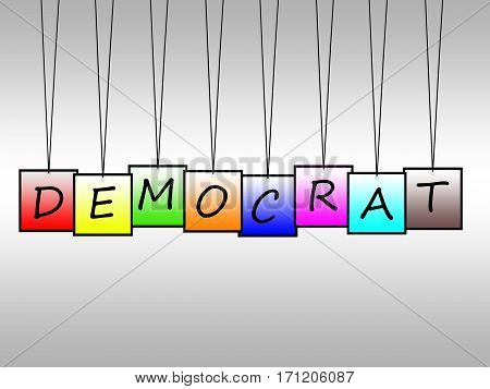 Illustration of democrat word written on hangings tags