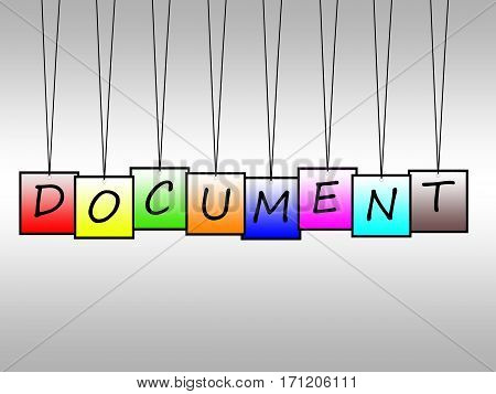 Illustration of document word written on hanging tags