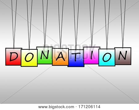 Illustration of donation word written on hanging tags