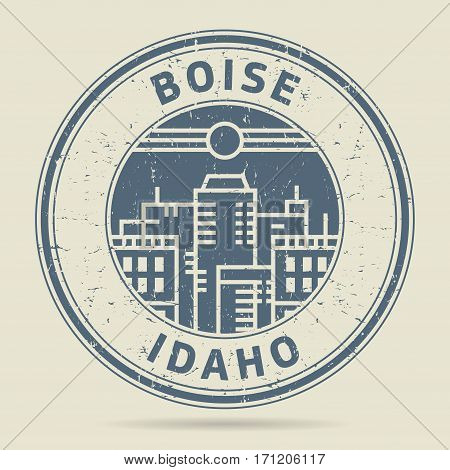 Grunge rubber stamp or label with text Boise Idaho written inside vector illustration