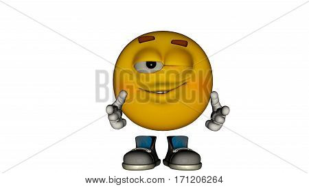 one yellow smiley guy with the face and boots. Wink. 3D renderingy