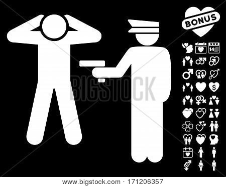 Arrest icon with bonus lovely pictograms. Vector illustration style is flat iconic white symbols on black background.