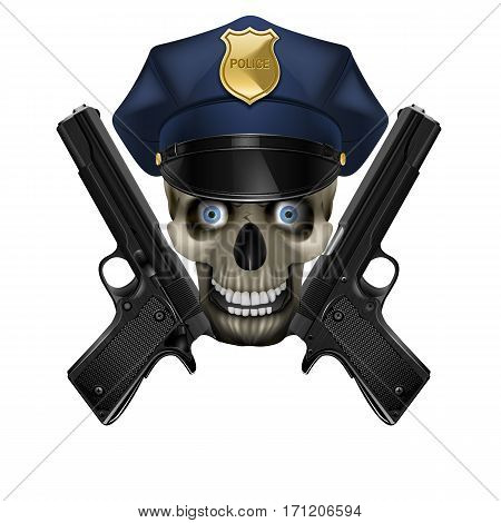Skull in a police cap and pistol. Isolated object on a white background, can be used with any image or text.