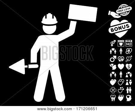 Builder With Brick icon with bonus valentine images. Vector illustration style is flat iconic white symbols on black background.