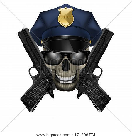 Skull with sunglasses in a police cap and pistol. Isolated object on a white background, can be used with any image or text.