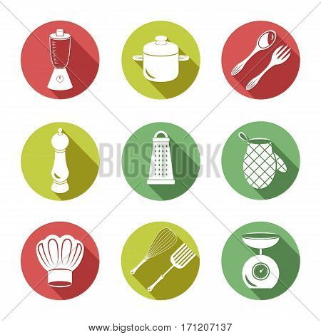 Set of nine icons on a theme kitchen utensils.