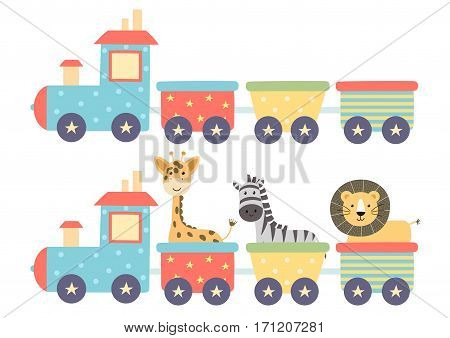 Cute isolated train in two versions - with funny animals and without them. Great for baby design. Vector illustration