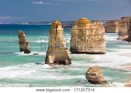 The world famous 12 Apostles along the Great Ocean Rd near Port Campbell in Victoria, Australia