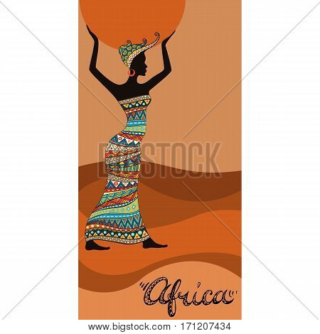 African woman with sun in hands. Doodle style freehand lettering. Girl in ethnic headdress and cloth. Poster or card template. Vector illustration.