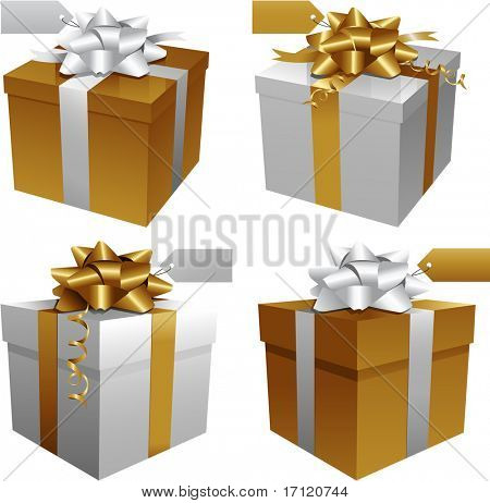 Gold Christmas gift boxes