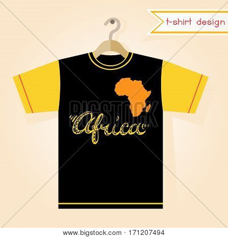 Black and yellow short-sleeved tee shirt design with Africa continent silhouette and hand drawn title. Fashion print template. Vector illustration.