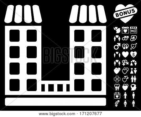 Company pictograph with bonus decorative graphic icons. Vector illustration style is flat iconic white symbols on black background.