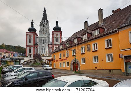 MARIAZELL/ AUSTRIA - OCTOBER 8, 2016: Shrine of Our Lady in city Mariazell site of pilgrimage for catholics. Austria.