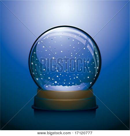 Empty Christmas snow globe
