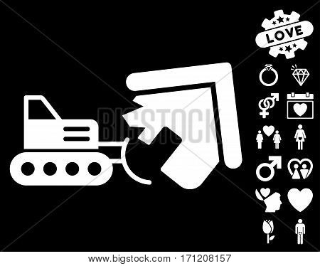 Demolition icon with bonus dating icon set. Vector illustration style is flat iconic white symbols on black background.
