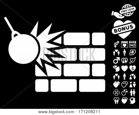 Destruction pictograph with bonus passion symbols. Vector illustration style is flat iconic white symbols on black background.