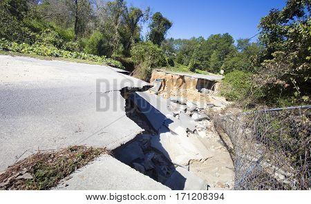 Raeford North Carolina road gone after Hurricane Matthew