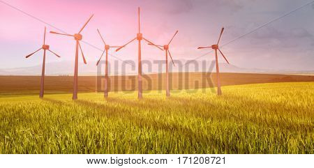 Windmills side by side against white background against green beautiful wheat field 3d