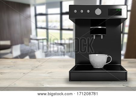 Black coffee maker machine against digitally generated image of cafe 3d