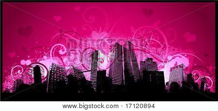 Downtown city valentine's day background