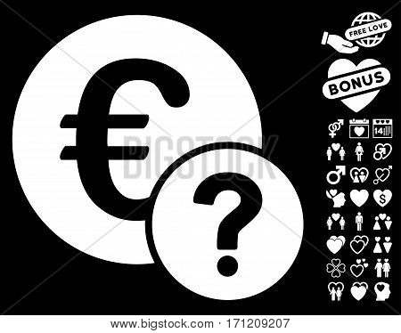 Euro Status pictograph with bonus passion clip art. Vector illustration style is flat iconic white symbols on black background.