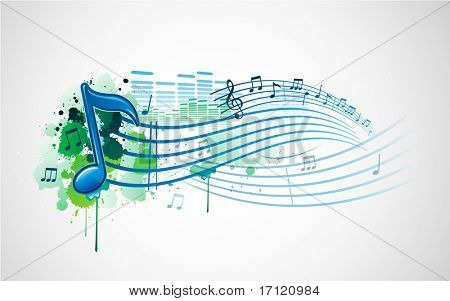 Grunge paint splat music note design banner