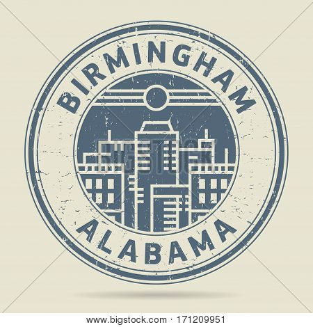 Grunge rubber stamp or label with text Birmingham Alabama written inside vector illustration