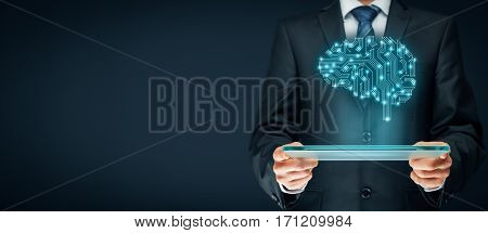 Artificial intelligence (AI), data mining, business intelligence, genetic programming, machine deep learning and another modern computer technologies concepts. Brain representing artificial intelligence with printed circuit board (PCB) design