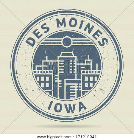 Grunge rubber stamp or label with text Des Moines Iowa written inside vector illustration