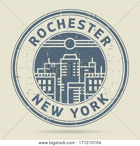Grunge rubber stamp or label with text Rochester New York written inside vector illustration