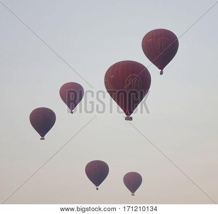 Hot Air Balloons Flying In Bagan, Myanmar