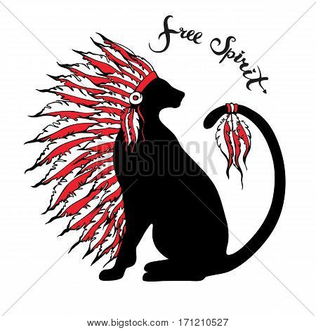 Free spirit title and black cat silhouette in war bonnet Pets portrait with native American Indian chief headdress. Three colors illustration style. Freehand lettering. Vector illustration.