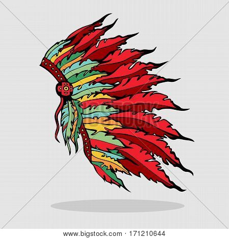 Colorful war bonnet. Hand drawn native American Indian plume tribal headdress. Vector illustration.